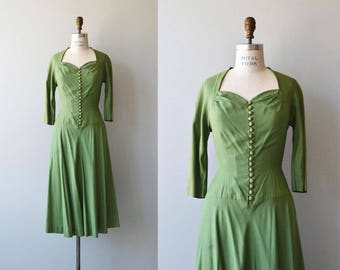Bells of Ireland dress | vintage 1950s dress | green sweetheart 50s dress