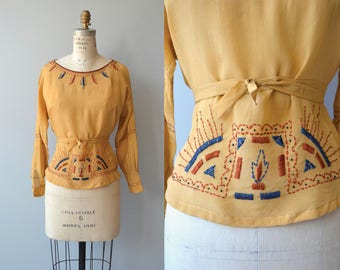 Sivalik silk blouse | vintage 1920s blouse | embroidered 20s blouse