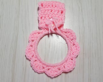 Towel Holder Crocheted Ring Pink