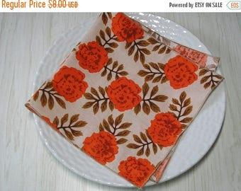 SALE Cloth Napkins Floral Roses Burnt Orange Set of 4