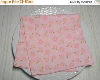 SALE Cloth Napkins Pastel Pink Floral Set of 4