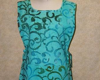Sea Glass apron Swirls tunic cobbler batik cotton print 2 section pocket side ties undulating kelp turquoise aqua seaglass green smock style