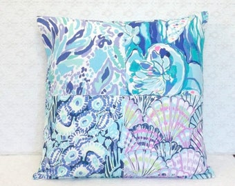 BACK TO SCHOOL Preppy Blue Purple Lilly Pulitzer Fabric Patchwork Pillow Cover 20x20