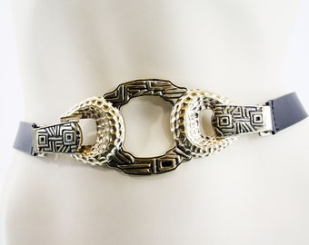 Vintage Chicos Mixed Metal and Black Leather Retro Statement Belt