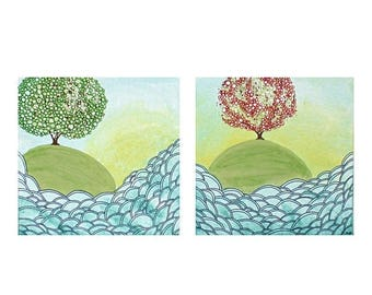 ON SALE Ocean Wave Art - Set of Two Original Paintings on Canvas - Island Trees in Spring and Summer - Small 21x10