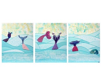 ON SALE Mermaid Wall Art Painting on Canvas Triptych in Aqua and Pink Ocean Waves -  Large 50x20