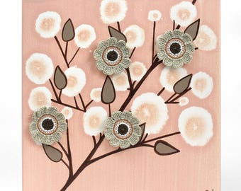 Peach Wall Art Original Painting of Flowers, Gift for Her, Small Canvas Art in Peach and Brown - 10x10