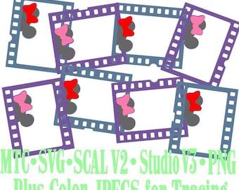 Filmstrip Frames Girl Boy Mouse Head Design #08 Amusement Park Embellishments Cut Files MTC SVG SCAL and more File Format