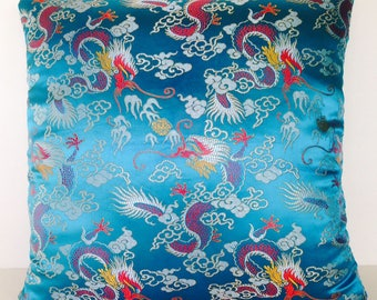 Square Throw Pillow Cover Aqua Blue Asian Chinese Oriental Embroidered Dragon Satin