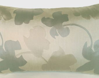 """18"""" x 12"""" Lumbar Throw Pillow Cover Flowers Floral Traditional Modern Asian Gray Olive Silk Blend French Country English"""