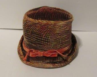 Vintage Mod Velvet Top Hat Bucket Hat Hand Stitched Structured Hat Brown Burnt Orange Velveteen Vintage Cloche 1960s 60s