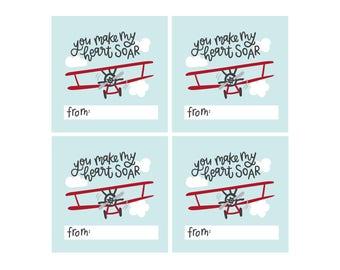 Kids Valentine's Cards - Make My Heart Soar - Airplane Valentines