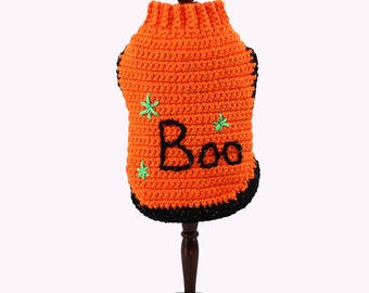 Dog Sweater, Halloween, Halloween Dog Sweaters, Crochet, Crochet Sweater for Dog, Embroidered, Dog fashion, Winter Sweater for Small Dog
