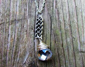 Celtic Knot Aurora Borealis Necklace. Irish Jewelry. Celtic Jewelry.