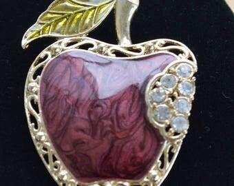 On sale Pretty Vintage Burgundy, Green Enamel, Rhinestone Apple Brooch, Pin, Teacher's Gift, Fruit (AH3)