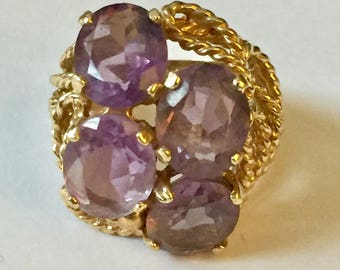 SOLID 14k gold Amethyst Ring Statement