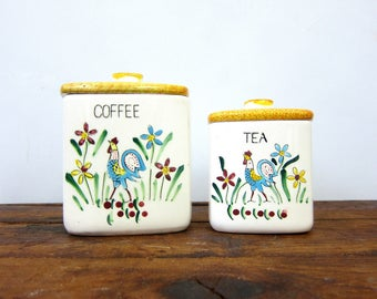 Vintage MORIKIN Coffee and Tea Canisters Set Painted Roosters & Flowers Yellow Lidded Jars Cottage Chic Kitchen Decor Storage Made in Japan