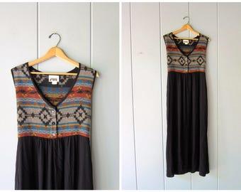 Vintage 80s 70s Southwestern Dress Long Black Tribal BOHO Dress Ethnic Slouchy Slip Dress Frock Summer Dress Sleeveless Womens Medium Large