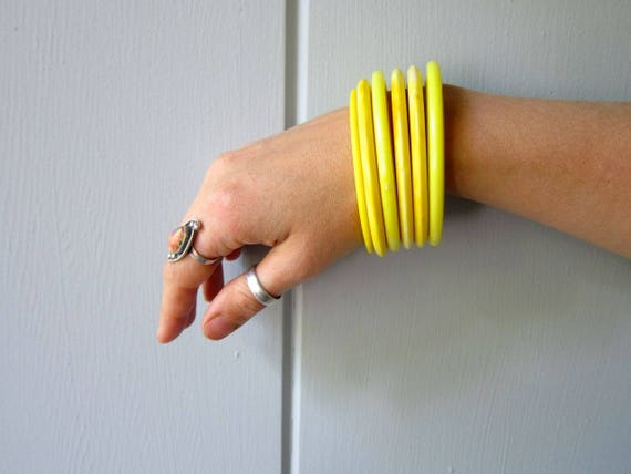 Vintage Bangle Bracelets SET of 6 Stacking Bracelets Bright YELLOW Jewelry Plastic 80s Bangles Minimal Bracelets Hipster Safari Mod Boho