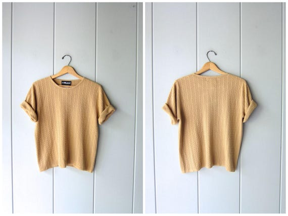Vintage 90s Knit Top  Beige Ribbed Sweater Top Short Sleeve Minimal Knit Sweater Preppy Modern Basic Knit Tee Blouse Womens Petite Large