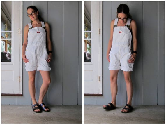 80s Dickies WHITE Bib Overalls DEADSTOCK Painters Bib Shorts Shorteralls Jean Shorts Denim Bibs Unisex Dungarees Womens Small Medium 32 X 30