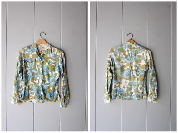 70s H BAR C Western Shirt Vintage Floral Shirt Pearl Snap Flower Print DELLS Long Sleeve Hippie Boho Shirt Small Fit Cotton Shirt Womens XS
