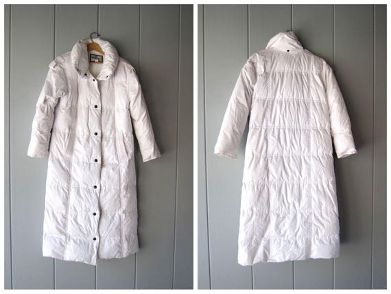 90s White Feather Down Coat FLOOR LENGTH Minimal Puffy Coat SUPER Warm Snap Down Winter Coat Modern Quilted Goose Coat Womens Medium Large