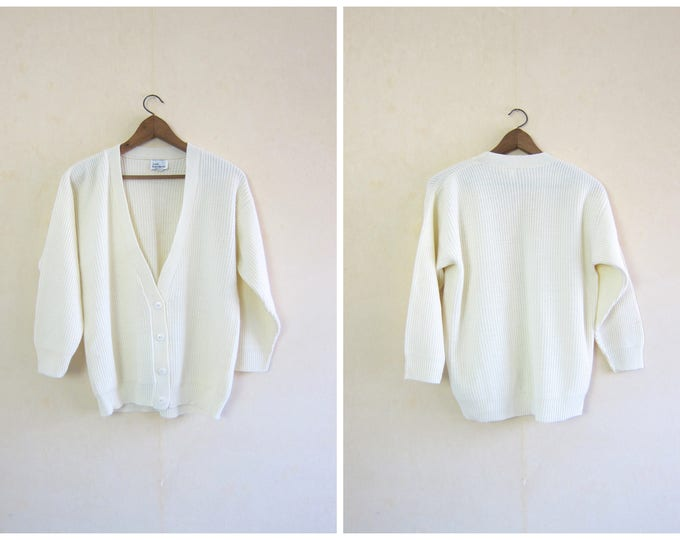 80s White Sweater Button Up Cardigan Oversized Cropped Ribbed Knit Sweater Vintage Basic Preppy Slouchy Button Up Sweater Womens Large