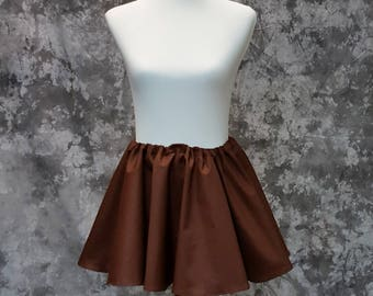 Brown Full Circle Mini Skirt, Adult Twirl Skirt, Skater, Fantasy, Cosplay One Size Fits Most, Steampunk, Pirate, LARP Garb