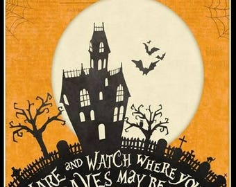 """24"""" Fabric Panel - Wilmington Come Sit Spell Halloween Haunted House Wallhanging"""