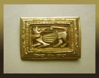 Paule Ingrand Ornate Medieval Revival Brooch, Bronze Doré, Art Deco, Mythological Creature, Arthus Bertrand Paris, Vintage Jewelry,Unisex