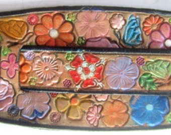 IPod Nano  Leather Watch Band or Wrist Band Cuff with Flower Garden  Butterflies and Brown Border Made in GA USA