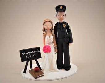 Police Officer & Teacher Personalized Wedding Cake Topper