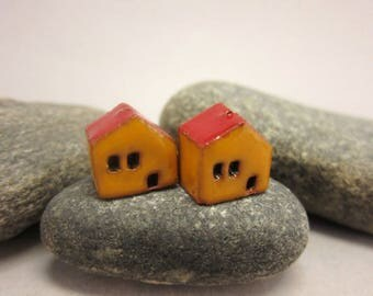 READY TO SHIP...Miniature Terracotta House Beads...Set of 2...Yellow Walls/Red Roof