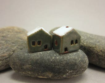 READY TO SHIP...Miniature Terracotta House Beads...Set of 2...Metallic Green Walls/White Roof