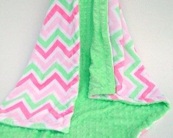 SALE Mint Green and Pink Chevron Minky Baby Blanket for Baby Girl Can Be Personalized