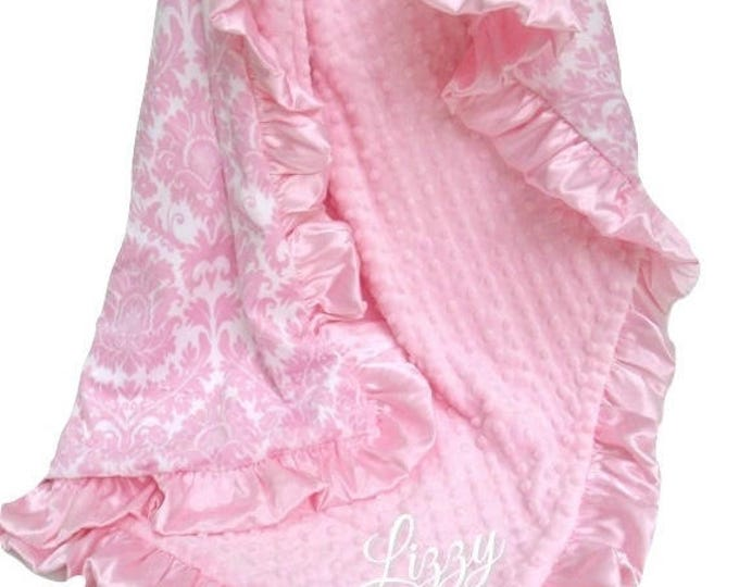 SALE Personalized Pink Damask Minky Blanket for a Baby Girl, Embroidered Minky Blanket