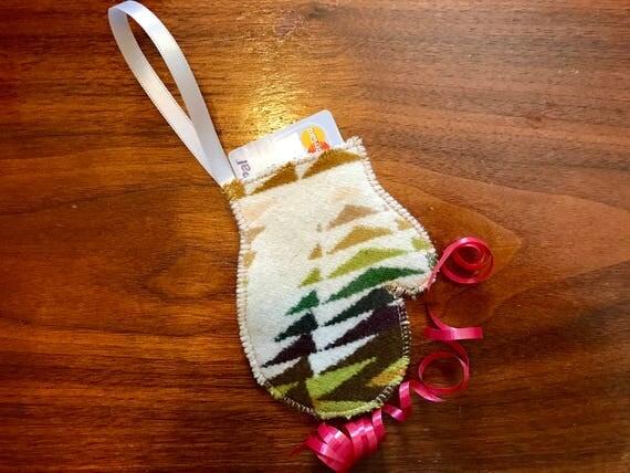 Mitten Christmas Ornament / Gift Tag / Gift Card Holder / Money Holder / Wool Green Pecos