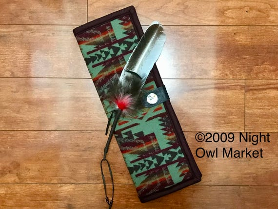 Feather Holder / Feather Case XL Wool Sage Green Shonto