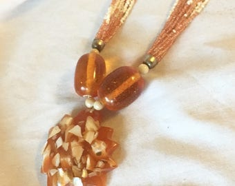 Vintage Orange and White Multi-Strand Bohemian Necklace with Shell Resin Pendant