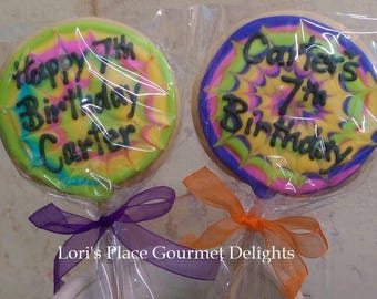 Personalized Rainbow Cookie Pops - Jumbo Cookie Pops - 12 Cookie Pops
