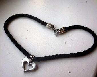 Sterling Silver Heart Necklace - Black Silk Braided Cord - Lambda Designer.