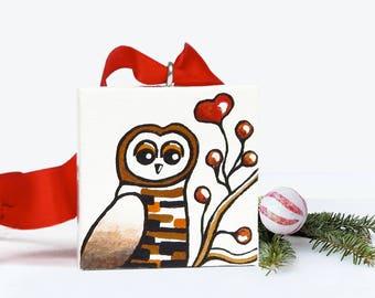 Owl Ornament, Hand Painted Ornament, Christmas Decor, Owl Christmas Ornament, Owl Painting Christmas Tree Ornament, Woodland Animals Art