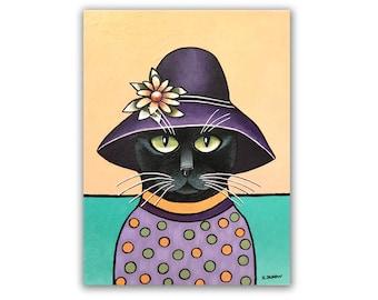 Black Cat Painting Pet Portrait Original Folk Art, Whimsical Animals Lover Gift