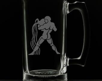 Aquarius 25 Ounce Personalized Beer Mug