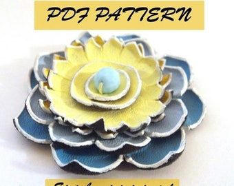 40% OFF SALE Leather flower tutorial. Water lilly flower pattern