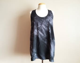 Hand dyed Black Racer Back Long Tunic Tank. 100% Rayon, Loose Fitting. Size M-L. Tie Dye, Dark, Sleeveless Top, Grey, A-Line