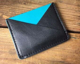 Aqua leather card holder, minimalist wallet, mens leather wallet, mens front pocket wallet, front pocket wallet, money clip