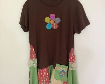 Large Up-cycled Tunic ,Boho Style, Laganlook, Recycled Patchwork,  Eco Clothing, Artsy Rustic Shabby Clothing,  Repurposed Fashion, Brown