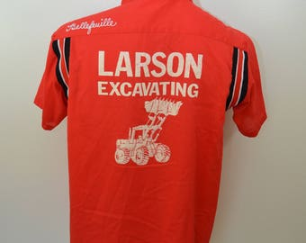 Vintage BOWLING SHIRT Larson Excavating 1960's HOWARD chain stitched